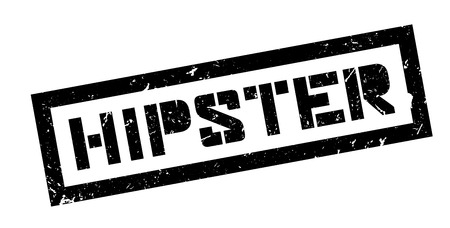 estereotipo: Hipster, rubber stamp on white. Print, impress, overprint.