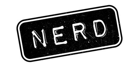 geeky: Nerd rubber stamp on white. Print, impress, overprint. Illustration