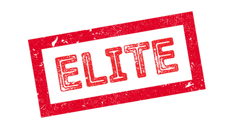 elite: Elite rubber stamp on white. Print, impress, overprint. Illustration