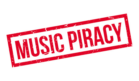 piracy: Music Piracy rubber stamp on white. Print, impress, overprint.
