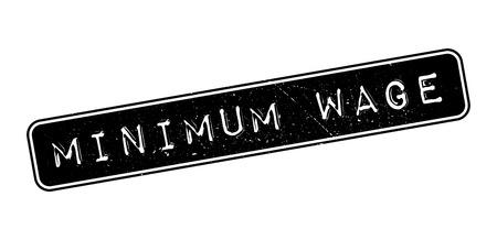 wage: Minimum Wage rubber stamp on white. Print, impress, overprint.