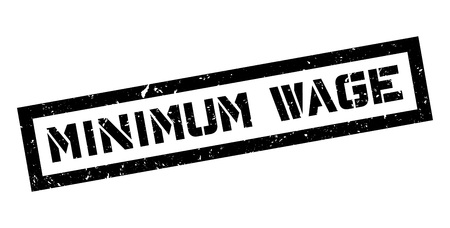 Minimum Wage rubber stamp on white. Print, impress, overprint.