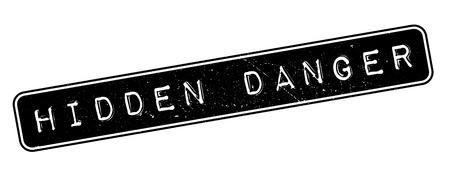 Hidden Danger, rubber stamp on white. Print, impress, overprint. Illustration