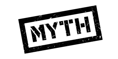government regulations: Myth rubber stamp on white. Print, impress, overprint.