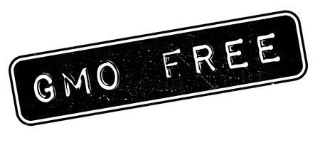 GMO Free rubber stamp on white. Print, impress, overprint. Illustration