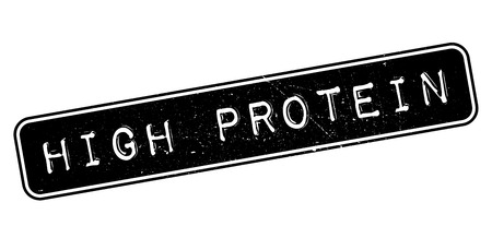 extensive: High Protein, rubber stamp on white. Print, impress, overprint. Illustration