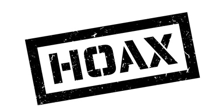 hoax: Hoax, rubber stamp on white. Print, impress, overprint. Illustration