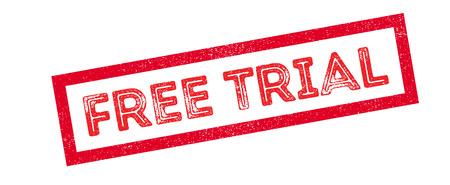 freebie: Free Trial rubber stamp on white. Print, impress, overprint. Illustration