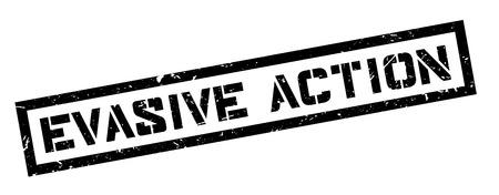 Evasive Action rubber stamp on white. Print, impress, overprint. Illustration