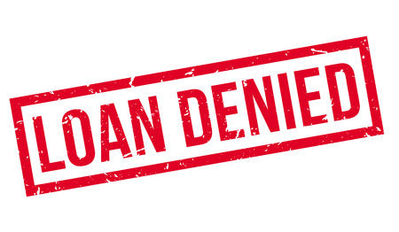 denied: Loan Denied rubber stamp on white. Print, impress, overprint.