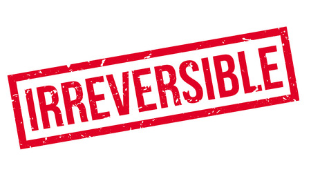 inflexible: Irreversible, rubber stamp on white. Print, impress, overprint.