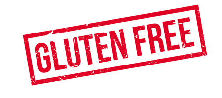coeliac: Gluten Free rubber stamp on white. Print, impress, overprint.