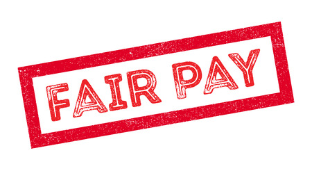 fairly: Fair Pay rubber stamp on white. Print, impress, overprint.