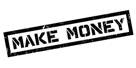 realize: Make Money rubber stamp on white. Print, impress, overprint.
