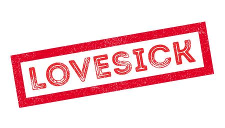yearning: Lovesick rubber stamp on white. Print, impress, overprint. Illustration