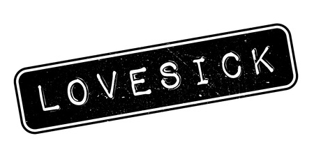 lovelorn: Lovesick rubber stamp on white. Print, impress, overprint. Illustration