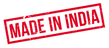 made manufacture manufactured: Made in India rubber stamp on white. Print, impress, overprint.