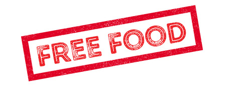 relieve: Free Food rubber stamp on white. Print, impress, overprint.