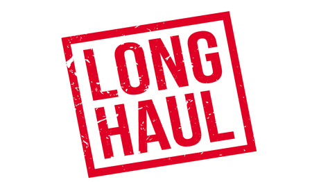 uphill: Long Haul rubber stamp on white. Print, impress, overprint.