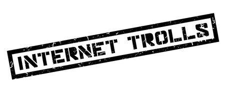 slang: Internet Trolls, rubber stamp on white. Print, impress, overprint.