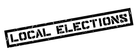 local elections: Local Elections rubber stamp on white. Print, impress, overprint. Illustration