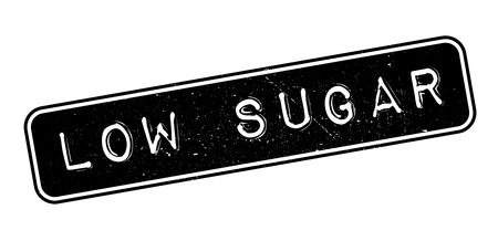 lowfat: Low Sugar rubber stamp on white. Print, impress, overprint.
