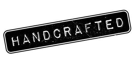 handcrafted: Handcrafted, rubber stamp on white. Print, impress, overprint. Illustration