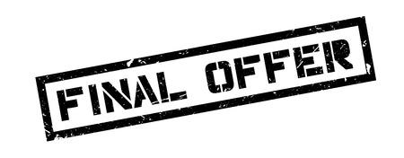 settled: Final Offer rubber stamp on white. Print, impress, overprint. Illustration