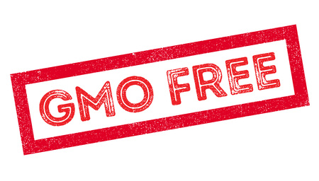 exempt: GMO Free rubber stamp on white. Print, impress, overprint. Illustration