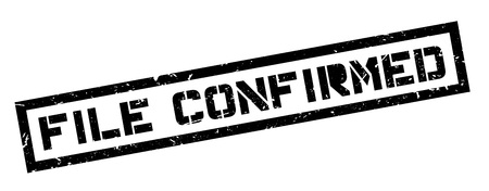 confirmed: File Confirmed rubber stamp on white. Print, impress, overprint. Illustration