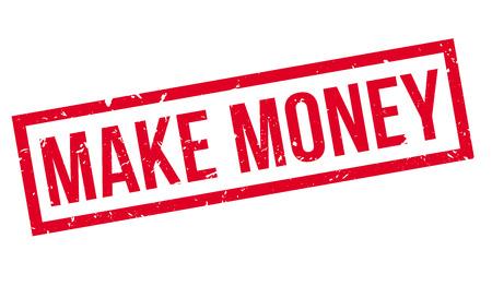 thrive: Make Money rubber stamp on white. Print, impress, overprint.