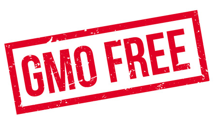 modified: GMO Free rubber stamp on white. Print, impress, overprint. Illustration