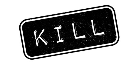 smashed paper: Kill, rubber stamp on white. Print, impress, overprint.
