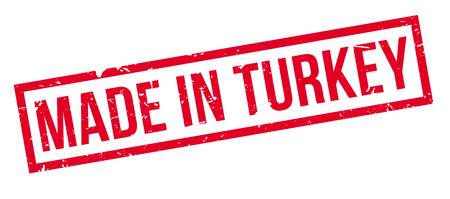 Made in Turkey rubber stamp on white. Print, impress, overprint.