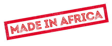 made manufacture manufactured: Made in Africa rubber stamp on white. Print, impress, overprint. Illustration