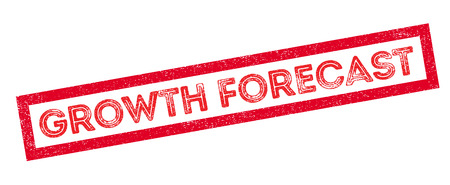 credit crunch: Growth Forecast rubber stamp on white. Print, impress, overprint.