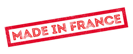 Made in France rubber stamp on white. Print, impress, overprint.