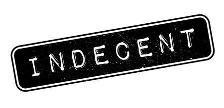 Indecent, rubber stamp on white. Print, impress, overprint. Illustration