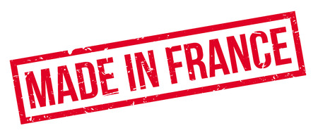 french produce: Made in France rubber stamp on white. Print, impress, overprint.
