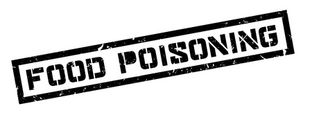 poisoning: Food Poisoning rubber stamp on white. Print, impress, overprint.