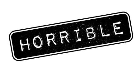 horrible: Horrible, rubber stamp on white. Print, impress, overprint.