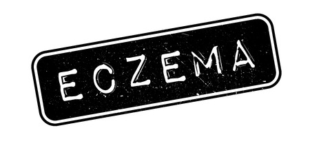 itchy: Eczema rubber stamp on white. Print, impress, overprint.