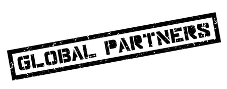 partners: Global Partners rubber stamp on white. Print, impress, overprint. Illustration