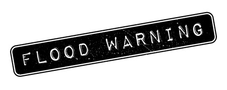torrent: Flood Warning rubber stamp on white. Print, impress, overprint.