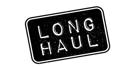 long haul journey: Long Haul rubber stamp on white. Print, impress, overprint.