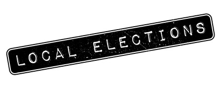 Local Elections rubber stamp on white. Print, impress, overprint.