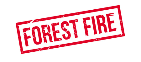 brigade: Forest Fire rubber stamp on white. Print, impress, overprint. Illustration