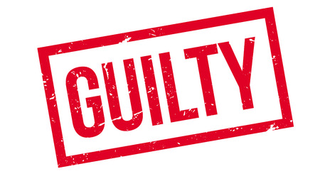 convicted: Guilty rubber stamp on white. Print, impress, overprint.