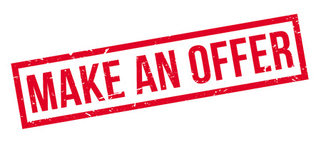 urge: Make an Offer rubber stamp on white. Print, impress, overprint. Illustration