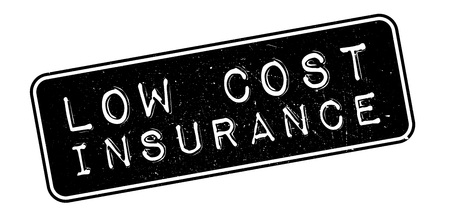 ensuring: Low Cost Insurance rubber stamp on white. Print, impress, overprint. Illustration